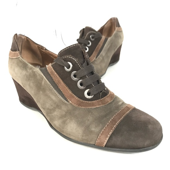 melluso suede leather lace up shoes wedge